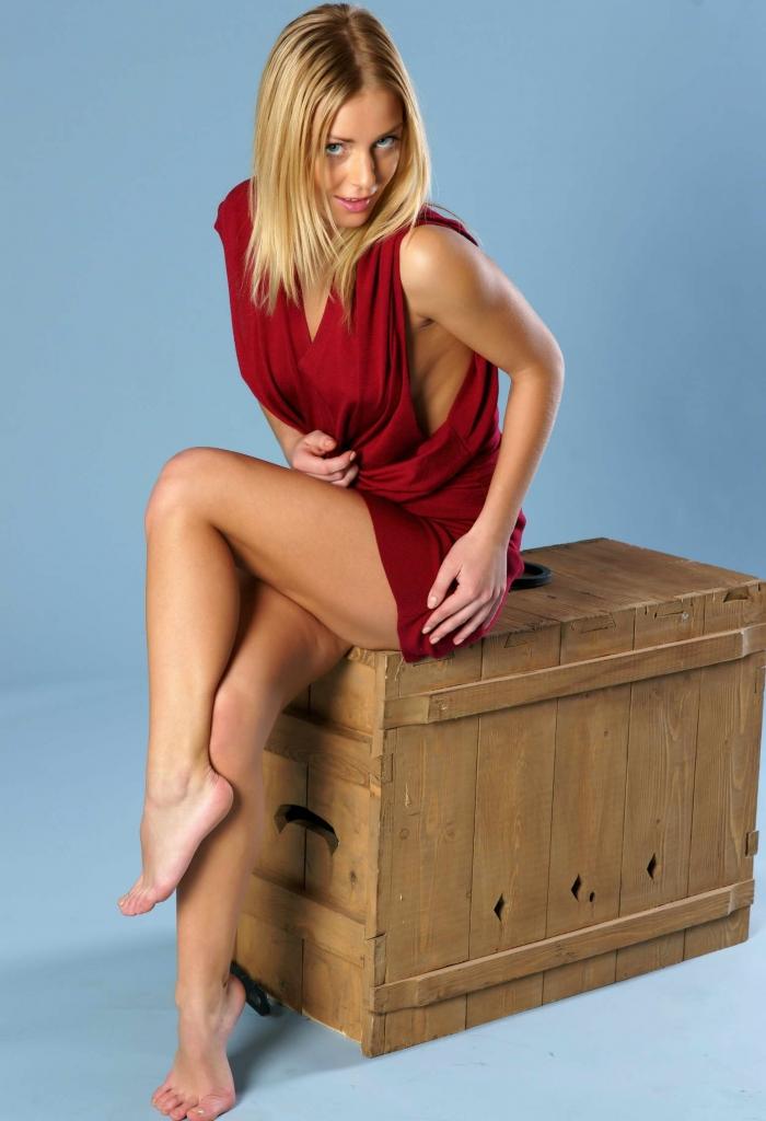 Hot Petite Blonde Crossing Legs
